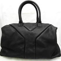 Auth Yves Saint Laurent Calfskin Leather Handbag Black Photo