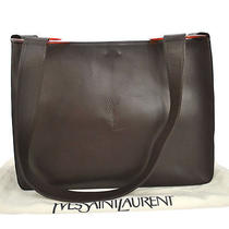 Auth Yves Saint Laurent Cross Body Shoulder Bag Dark Brown Leather Vtg A17957 Photo