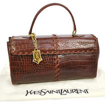 Auth Yves Saint Laurent Hand Tote Bag Brown Crocodile Leather Vintage Bt05700 Photo