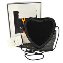 Auth Yves Saint Laurent Heart Cross Body Shoulder Bag Velvet Black Vtg Ba00780 Photo