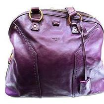 Auth Yves Saint Laurent Leather Shoulder Bag Purple Free Shipping Photo
