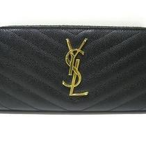 Auth Yves Saint Laurent Leather Zippy Wallet Long Purse Black Gold Photo