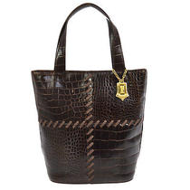 Auth Yves Saint Laurent Logos Hand Tote Bag Brown Crocodile Embossed Ba00847 Photo