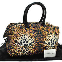 Auth Yves Saint Laurent Logos Leopard Hand Bag Br Bk Nylon Italy Vintage Ka03043 Photo