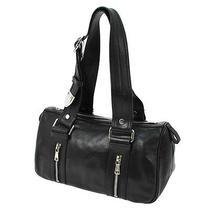 Auth Yves Saint Laurent Logos Shoulder Bag Black Leather Vintage Italy Ka02628 Photo