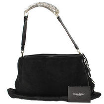 Auth Yves Saint Laurent Mombasa Shoulder Bag Black Suede Vintage Italy Ka02665 Photo