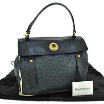 Auth Yves Saint Laurent Muse Two Hand Bag Navy Ostrich Leather Vintage Ka03139 Photo