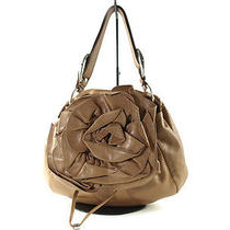 Auth Yves Saint Laurent Nadja Flower Light Brown Leather Shoulder Bag Ys0001 Photo