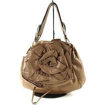 Auth Yves Saint Laurent Nadja Flower Light Brown Leather Shoulder Bag Ys0001 Photo