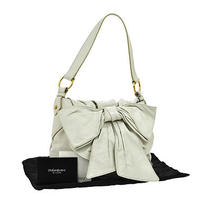 Auth Yves Saint Laurent Sac Bow Shoulder Bag White Leather Vintage Italy Ka02843 Photo