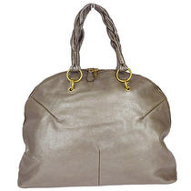 Auth Yves Saint Laurent Shoulder Bag Leather Metallic Gray Italy Vintage 31h045 Photo