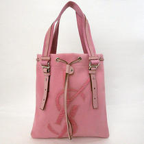 Auth Yves Saint Laurent Shoulder Bag Pink Canvas W/ Dust Bag - E4945 Photo