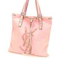 Auth Yves Saint Laurent Tote Bag Pink Canvas M1160 Photo