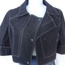 Auth Zac Posen Dark Wash Denim Cropped Short Sleeve Blazer Jacket Bolero Shrug  Photo
