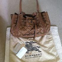 Authenic  Burberry Tan Quilted Lamb Leather  Md Easton Landscape Tote Bag  Photo