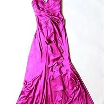 Authenic Zac Posen Silk Purple / Fuschia Sexy Low Cut Long Dress Down Size 4 Photo