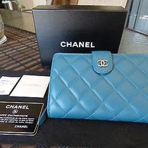 Authentic 100% Chanel Aqua Quilted Lambskin Leather Wallet W/ Cc Logo Nwt