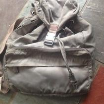 Authentic 100% Real Nylon Prada Backpack Grey/ Tan Color Great Condition  Photo