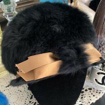 Authentic 1940s Vintage Black Rabbit Fur Christian Dior Hat With Gold Ribbon Photo