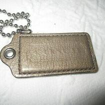 Authentic  2 1/2''  Coach Gray  Leather Hang Tag Silver Chain Photo