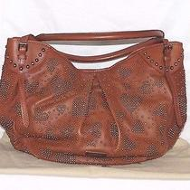 Authentic 2250 Burberry Studded Brown Leather Large Hobo Bag Mint Condition Photo