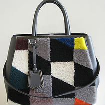 Authentic 3800 Fendi 2jours Gray Leather Shearling Tote Handbag Bag Photo