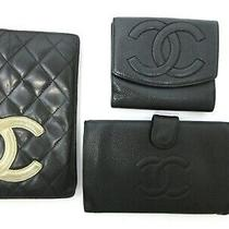 Authentic 3 Item Set Chanel Wallet Caviar Skin Cambon Line Leather 85023 Photo