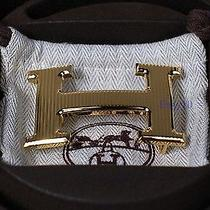 Authentic 32 Mm Rare Hermes Gold Stripe Belt Hermes Buckle Photo