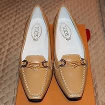 Authentic 425 Tod's  Beige jackie.sell.rings Pointed Toe Loafers Sz 8.5 Us Photo