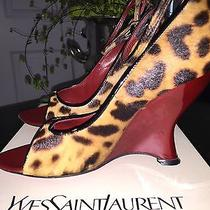 Authentic 900 Ysl Yves Saint Laurent Leopard Red Lacquer Wedge Sandals 35.5 Photo