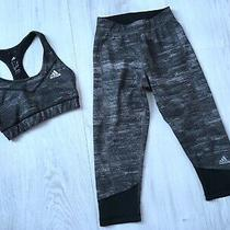 Authentic Adidas Ladies Gym Crop Top & Leggings Bundle Size Xs Grey & Black Photo