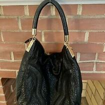 Authentic Bagdley Mischka Black Leather Hobo Bag Tote Shoulder Purse  Msrp 298 Photo