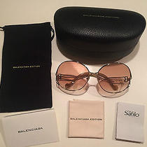 Authentic Balenciaga Antique Curved Metal Fade Lens Women's Sunglasses Bal0126 Photo
