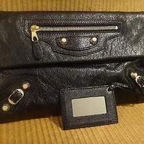 Authentic Balenciaga Black Lamb Skin Leather Triple Pocket Envelope Clutch Bag Photo