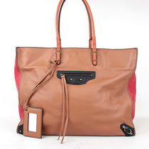 Authentic Balenciaga Papier A4 Tote Shoulder Bag Brown & Red Leather 19557 Photo