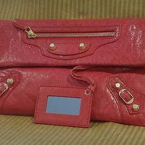 Authentic Balenciaga Red Lamb Skin Leather Triple Pocket Envelope Clutch Bag Photo