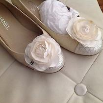 Authentic Ballet Chanel  Flats Camilla Shoes  Dust Bag Silver Gold Shoes Wedding Photo