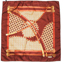 Authentic Bally Brown Burgundy Gold Classic Equestrian Silk 33 Scarf Switzerland Photo