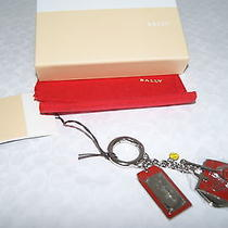 Authentic Bally 'Kiwa' Palladium Metal Red Enamel Key Fob Key Ring Nwt Photo