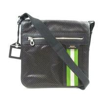 Authentic Bally Shoulder Bag Crossbody Leather Black Green Used Unisex Photo