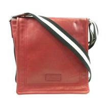 Authentic Bally Shoulder Bag Crossbody Leather Red Used Unisex Photo