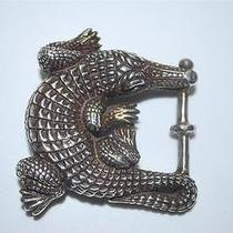 Authentic Barry Kieselstein-Cord Sterling Silver Alligator Croc Belt Buckle Photo
