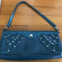 Authentic Bcbg Paris Teal W Studs Clutch Handbag Purse  Photo