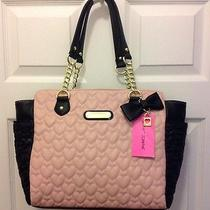 Authentic Betsey Johnson Shopper Tote Quilted Sequin Blush - New With Tags Photo