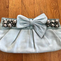 Authentic Betsy Johnson Light Blue Beaded Bow Clutch Purse Photo