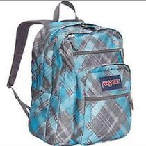Authentic Big Student Jansport Nwt Backpack Mammoth Blue Sideways Plaid Photo