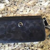Authentic Black Coach Wallet With Wrist Strap Photo
