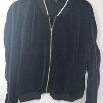 Authentic Black Label Juicy Couture Velour Zip Up Jacket Top Black  Size Xl Photo