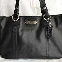Authentic Black Leather Coach Bag Gallery Tote F19252 Photo