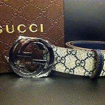 Authentic Blue/beige Monogram Gucci Belt Sz 32-34 Photo